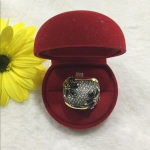 NEW 925 S.S, 10k Gold, Black and Clear CZ Ring 8